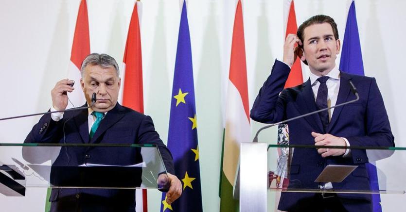 L'ungherese Viktor Orban e l'austriaco Sebastian Kurz a Budapest